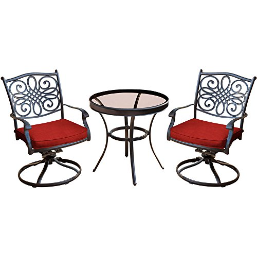 Hanover TRADDN3PCSWG-R Traditions 3-Piece Swivel Bistro Set, Red