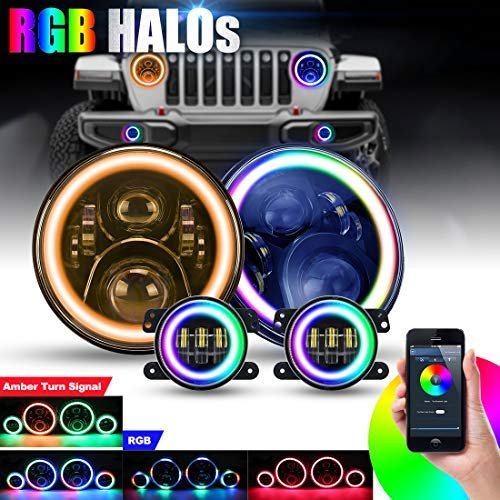 SUPAREE 7 inches RGB Headlights with Amber Turn Signal, 7inches LED Headlamp + 4 inches RGB Fog Lights 4.5 inches Front Bumper Lights with RGB Halo Ring for Wrangler 1997-2017 JK TJ LJ