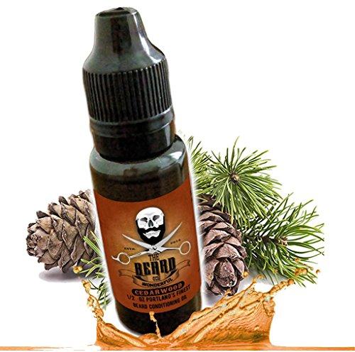 Huile à barbe bois de cèdre et revitalisant sans rinçage mélange de qualité pour une barbe plus épaisse, plus dense et plus douce excellente qualité Bio, 100% naturel (15 ml)