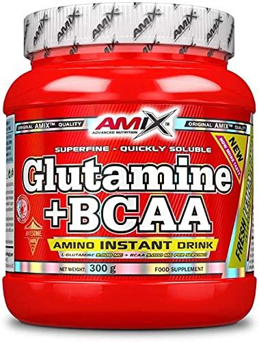 AMIX - Bcaa Glutamina - 300 Gramos - Complemento Alimenticio de Glutamina en Polvo - Reduce el Catabolismo Muscular - Óptimo para Deportistas - Sabor Lima Limón - Aminoácidos Ramificados