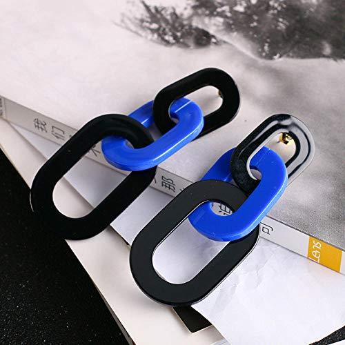 XCWXM Personalidad Temperamento Bohemio exagerado Cuadrado Simple Cuadrado Simple Rojo Azul Naranja Grandes Pendientes Grandes Simples Pendientes largos-013