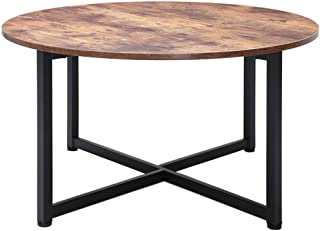 Usikey Round Coffee Table for Living Room, Retro Cocktail Table with X Base Metal Frame, Sofa Table, Office Table, Entertainment Center for Gaming, in Home Office, Easy Assembly, Rustic Brown