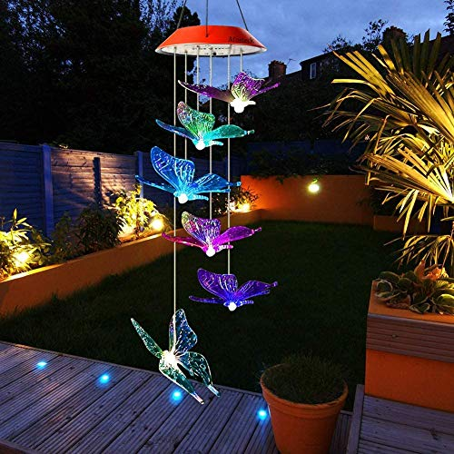 Six Foxes Butterfly Solar Wind Chimes, Wind Chimes Outdoor with Color Changing LED Mobile Patio Lights, Romantic Décor for Garden Yard Home, Gifts for Mom, Wife, Grandma