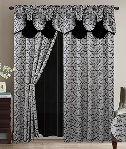 Luxury Home Collection Jacquard Window 2 Panel Curtain Set with Attached Valances and Backing with 2 Tassel Tie Backs -Window Curtains for Bedroom, Living Room, or Dining Room (Black)