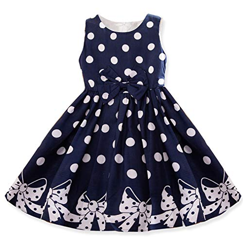 NNJXD Girl Sleeveless Polka Dotted Dress,Summer Casual Party Dress Size 6-7 Years Blue