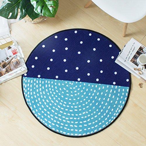 Tapis ronds, nordique petit frais tapis salon table basse pad maison suspendus panier mat ordinateur pivotant chaise couverture chambre (Couleur : D, taille : Round-80cm)