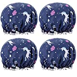 Unicorn Shower Caps for Women and Girl, Bath Cap 10.5' Waterproof Double Layers Reusable for Women Hair