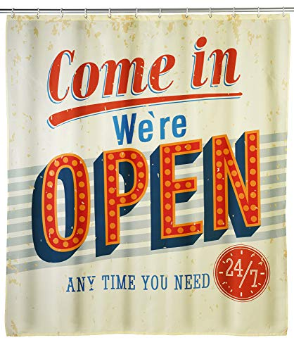 WENKO Anti-Schimmel Duschvorhang Vintage Open - Anti-Bakteriell, Textil, waschbar, wasserabweisend, schimmelresistent, mit 12 Duschvorhangringen, Polyester, 180 x 200 cm, Mehrfarbig