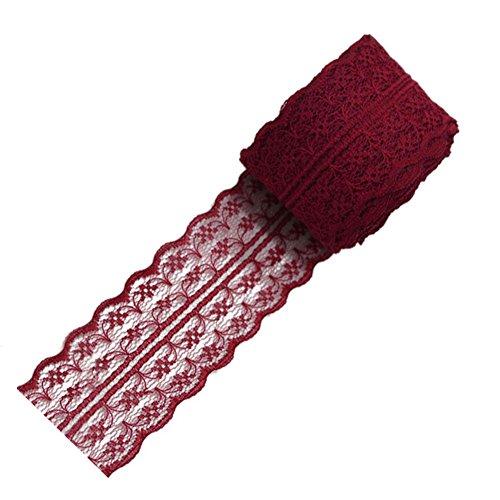 Cinta de encaje Lumanuby estilo vintage. 1rollo de 10 m de largo y 4,5cm de ancho, rojo oscuro, 100x4.5CM