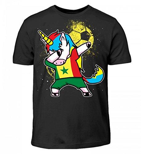 Hochwertiges Kinder T-Shirt - Dabbendes Einhorn Senegal WM Trikot -Senegal/Fußball Trikot/Nationalmannschaft