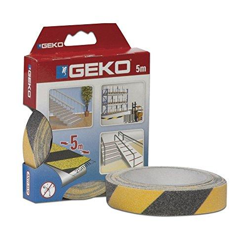 Geko adhésif Anti-dérapant adhésif mm 25 x 5 Metre Jaune fermé Box, Noir, Taille Unique