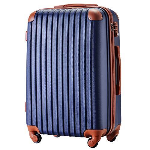 [トラベルハウス] Travelhouse スーツケース 超軽量 TSAロック搭載 ABS 半鏡面仕上げ4輪 ファスナータイプ 【一年安心保証】(M, ネイビー+ブラウン)