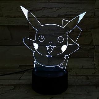 Lampara LED Pokémon Pikachu Salto Cambia Color USB Luz Nocturna