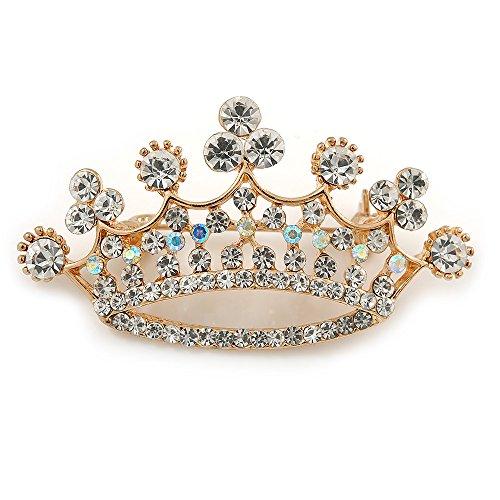 Avalaya Broche de corona de cristal transparente en tono dorado – 50 mm de ancho