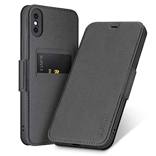 ELESNOW Cover Compatibile con iPhone X/XS, Custodia in Pelle Magnetica Flip Cover con Slot per Apple iPhone X/XS 5.8' (Nero)