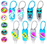 KINIA 8 Pack Empty SPACE Kids Hand Sanitizer Travel Size Holder Keychain Carriers ~ 8-1 fl oz Flip Cap Reusable Portable Empty Bottles (8-Variety Pack SPACE)