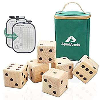 ApudArmis Giant Wooden Yard Dice Game 3.5   Big Dice Lawn Game Set with Scoreboard & Carrying Bag - Giant Pine Wooden 6 Dice Backyard Game Set for Kids Adults Family
