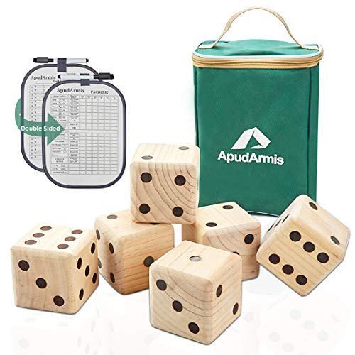 ApudArmis Giant Wooden Yard Dice Game, 3.5'' Big Dice Lawn Game Set with Scoreboard & Carrying Bag - Giant Pine Wooden 6 Dice Backyard Game Set for Kids Adults Family