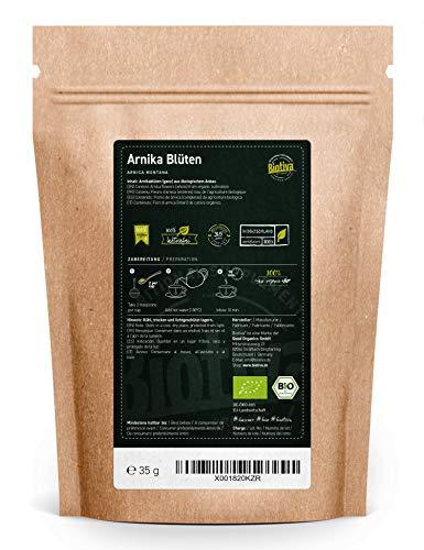 Arnica bloesemthee 35g bio – Berghutten – Hoogste kwaliteit biologische arnicabloemen in de bergen – Arnica Montana…