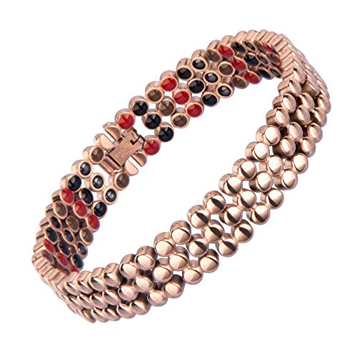 ZXLLAFT Stainless Steel Magnetic Healing Bracelets with Three-Rows of 4 Elements Relief The Pain, Women Men in Fashion Style 4 Colours Adjustable Length,Rose Gold