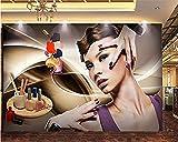 Mural Personalizar Papel tapiz 3D Salón de belleza Manicura Belleza Serie de personajes abstractos Impresión en HD papel pintado pared dormitorio de estar sala de estar fondo No tejido-300cm×210cm