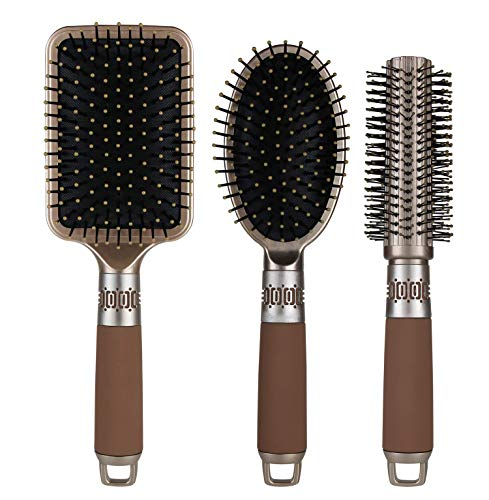NVTED Hair Brush Set with Detangling Nylon Pins Massage Paddle Brush Cushion Hair Combs Hair Dryer Brush for Women Men Kids Girls… (Gold)