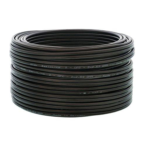 DCSk 10m - 2x2,5mm² Lautsprecherkabel schwarz - OFC Kupferkabel für HiFi Audio - 99,99{ba21ec399ab691017e92349407d32b21950dca84733228d9424063c3a601c296} Voll-Kupfer Boxenkabel mit Isolierung