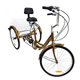 Kaibrite 24 Inch Adult Tricycle 3 Wheel Bicycle with White Basket Adult Tricycle