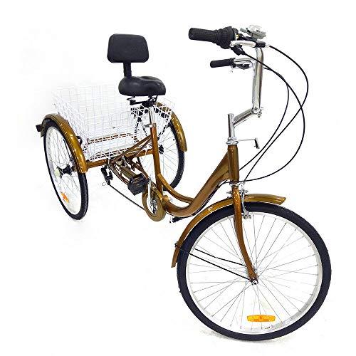 Triciclo para Adultos de 24 Pulgadas Bicicleta de 3 Ruedas con Cesta Blanca Bicicleta de Triciclo para Adultos con Marco de Acero.