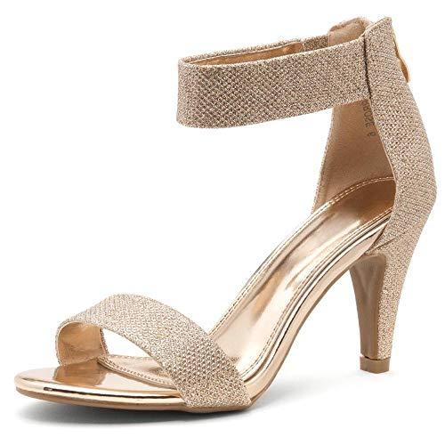 Herstyle RROSE Women's Open Toe High Heels Dress Wedding Party Elegant Heeled Sandals Rose Gold 7.0