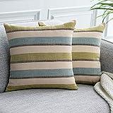 UPoPo - Juego de 2 fundas de cojín con aspecto de lino, diseño de rayas decorativas, para sofá, dormitorio, salón, con cremalleras, azul verdoso, 50 x 50 cm