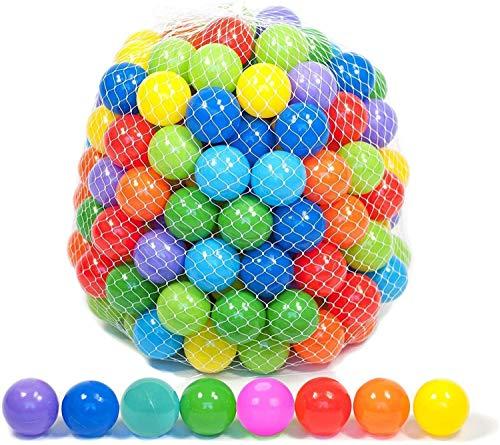 zyeziwhs 50/100/200 bolas de plástico suave para niños sin ftalatos y BPA, bolas de juego coloridas y divertidas para niños con bolsa de malla de almacenamiento para interiores y exteriores, 5,5 cm