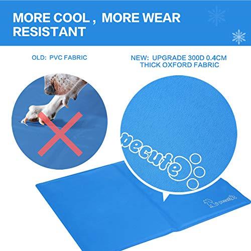 Pecute Alfombra Refrescante para Perro Actualización Engrosada 0.4mm 300D Oxford Alfombrilla de Refrigeración Automática para Animales de Compañía (XXL 140*90CM, Azul)