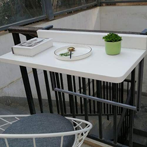 POEO Balcony Railing Hanging Table, Hanging Balcony Table, Railing Outdoor Leisure Table, Easy To Assemble, Stable And Durable, for Study,Dining, Home Office Use,white 77~40cm