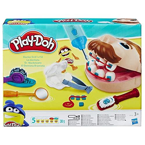 Hasbro Play-Doh Dottor Trapanino Playset con Accessori da Gioco da Dentista e 5 Vasetti di Pasta da Modellare + Duracell LR6 MN1500 Plus AA, Batterie Stilo Alcaline, Confezione da 8