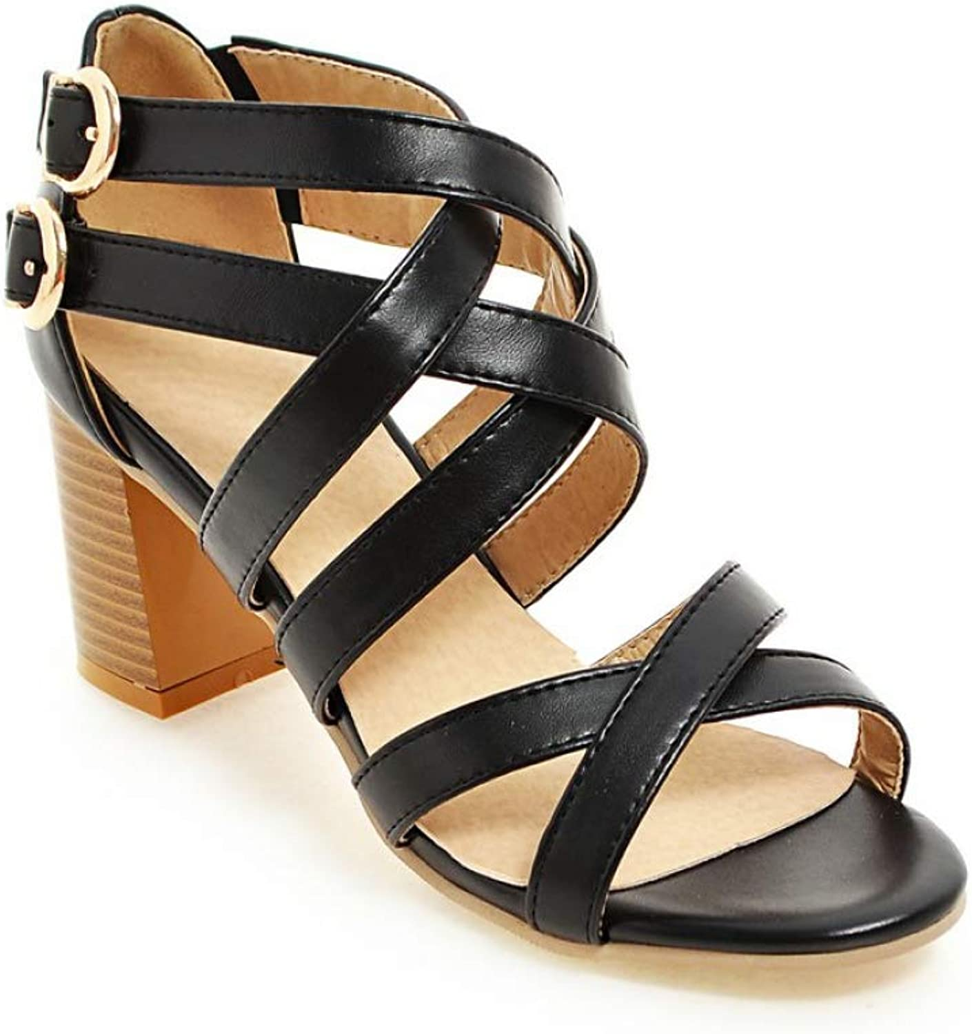 T-JULY Women Gladiator Sandals Rome Style High Heels shoes Square Heel Sandals Woman
