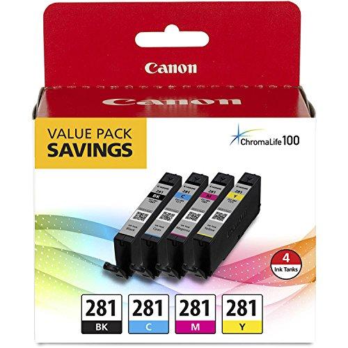 Canon CLI-281 BKCMY 4-Color Ink Tank Value Pack (2091C005) + Canon PGI-280 Pigment Black Ink Tank (2075C001)
