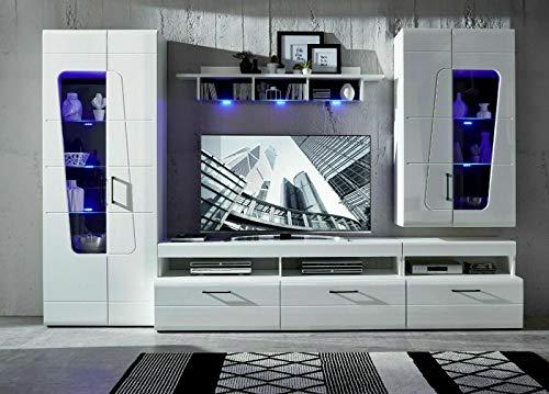 Anbauwand Spirit Plus Weiß Hochglanz 4-teilig MDF Mit Beleuchtung Wohnwand