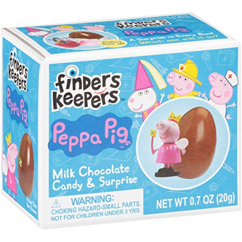 Finders Keepers Holiday Milk Eggs, Peppa Pig Toy Surprise for Stocking Stuffers & Candy Gifts, Milk Candy Eggs With Assorted Peppa Pig Toys, Chocolate, 4.2 Oz (Pack of 6)