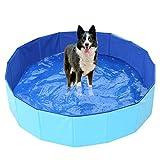 Piscina Infantil, Piscina de Baño para Mascotas Fuerte y Resistente al Desgaste, Piscina Portátil Resistente al Desgaste para Mascotas, Bañera Plegable para Perros-160X30 Cm, Piscina para Perros Mascota Gato Interior al Aire Libre
