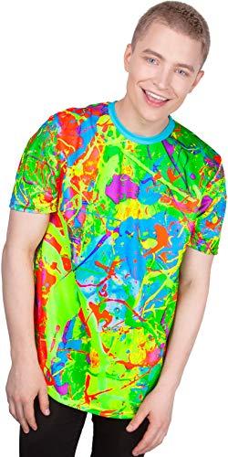 aofmoka Camiseta com estampa reativa de luz negra fluorescente ultravioleta feita à mão, Blue Lagoon, M
