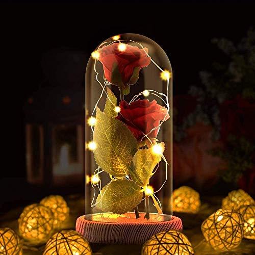 Rosa Eterna, La Bella y La Bestia Rosa Encantada, artificial Rosa de Seda con luz LED en cúpula de Vidrio en Base,regalo para, novia, día de la madre, aniversario de bodas,Día de San Valentín