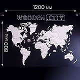 Monde Carte en Bois | Wooden World Map (XL) 1200mm x 800mm