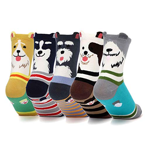 Womens Grils Cute Animal Socks Dogs Cats Cotton Casual Crew Socks Dog Themed Gifts Funny Lovely Pattern Dog Gifts for Dog Lover