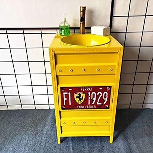 HAI Lavabo De Pie Bano, Lavabo para Bano Pequeno, Fregadero De Pedestal 46 * 46 * 85 Cm, Mueble De Bano para Bar Restaurante Cafetería(Color:Amarillo)