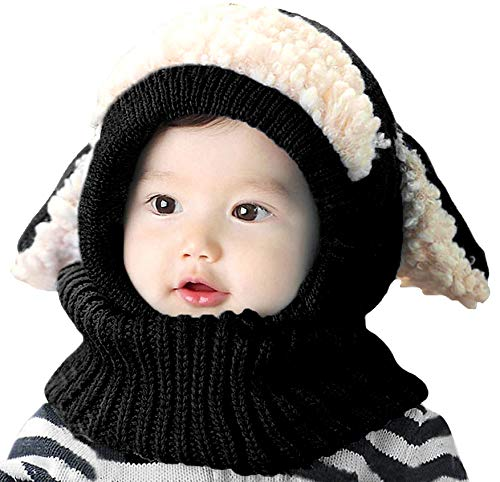 Bienvenu Winter Kids Cable Knit Warm Dog Animal Hats Knitted Hooded Scarf Beanies for Autumn Winter, Black