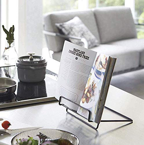 Recipe Book Stand Foldable Cookbook Stands Holders for Kitchen Counter,Portable Book Holder Stand for Reading Hands Free(Black)