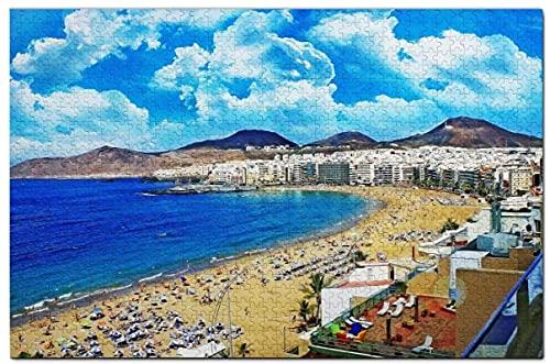 TTbaoz Jigs Puzzles 1000 Piezas Imagen de Montaje de Madera Las Palmas Gran Canaria Póster Juguetes educativos para Adultos(38*26cm)