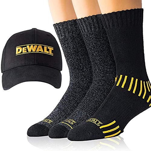 DeWALT Mens Crew Socks | Black Cotton Boot Socks for Men + Men's Ball Cap Set