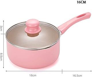 KIODS Olla Olla de Sopa Rosa de 16 cm / 18 cm Olla de Sopa portátil Calentador de Leche sartén Antiadherente Utensilios de Cocina para Cocina de Gas e inducción
